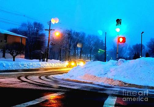 Snow with light of street by Rose Wang