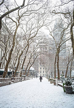 Snowing Bryant Park by Andrew Kazmierski