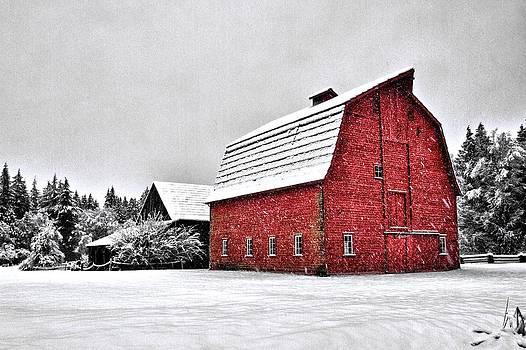Snowy red barn by Scott Holmes