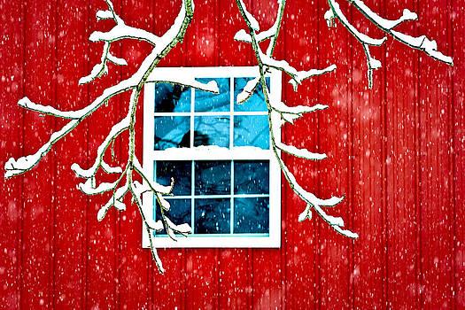Snowy Red Barn Window by Eleanor Ivins