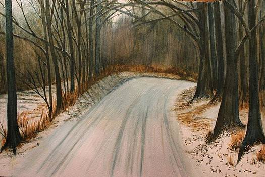 Snowy Road by Carol Oberg Riley