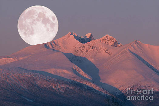Solstice Sunrise Alpenglow Full Moon Setting by Stanza Widen