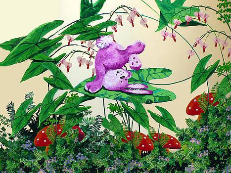 Hanne Lore Koehler - Somersault Bunny - Furry Forest Friends Mural