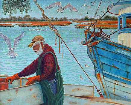 Sorting Shrimp at Frogmore 2 by Dwain Ray