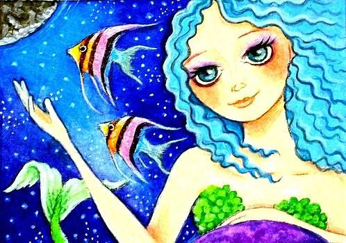Space Mermaid w/ Angelfish by Debrah Nelson