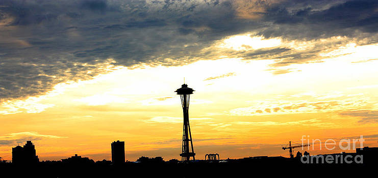 Nick Gustafson - Space Needle Sunset Sillouette