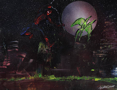 Spiderman and Vulture Over Central Park by Mike Cicirelli