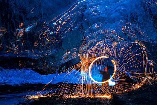 Spinning Wool Under The Glacier by Mike Berenson