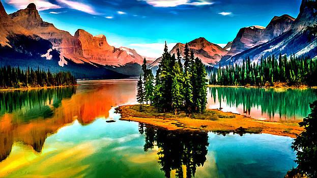 Spirit Island on Maligne Lake Jasper National Park by Bob and Nadine Johnston