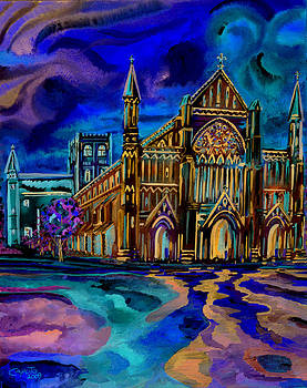 St Albans Abbey - Night View by Giovanni Caputo