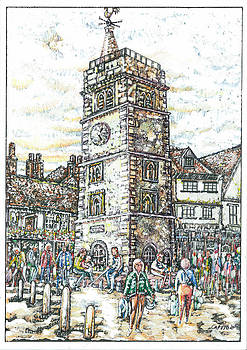 St Albans Clock Tower - Busy Market Day by Giovanni Caputo