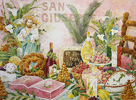 St. Joseph's Altar in Pink by Joyce Hensley
