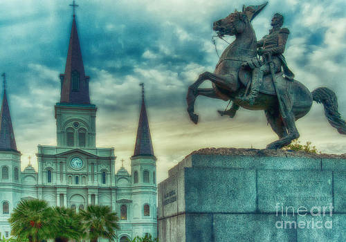 Kathleen K Parker - St. Louis Cathedral and Andrew Jackson- Artistic