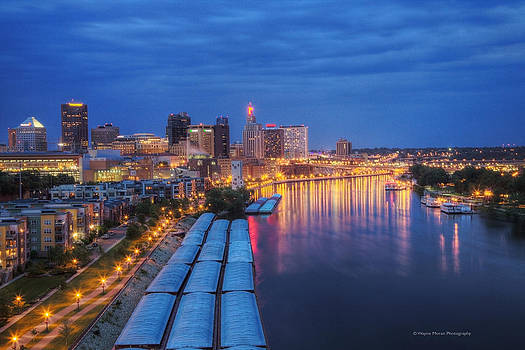 St Paul Skyline at Night by Wayne Moran
