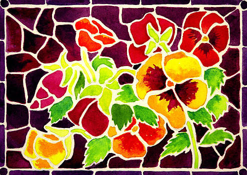 Stained Glass Pansies by Janis Grau