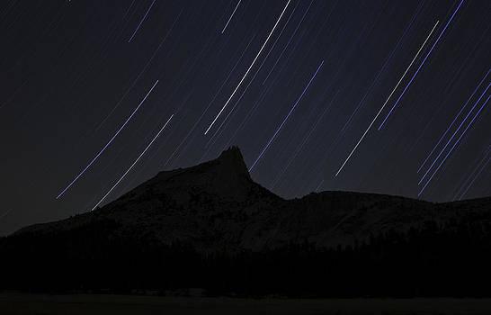Star Trails Over Cathedral Peak by Judi Baker