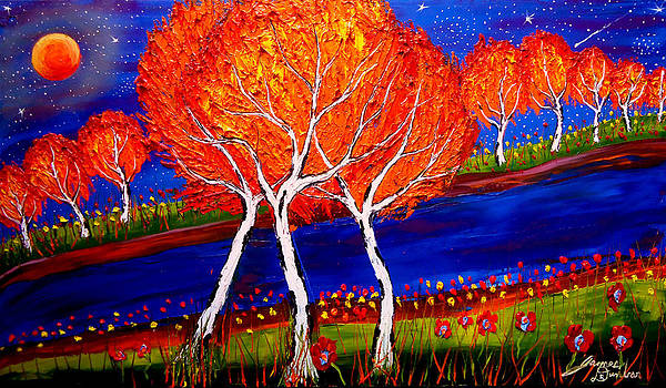 Starry Night Birch Tree Of Autumn 10 by Portland Art Creations