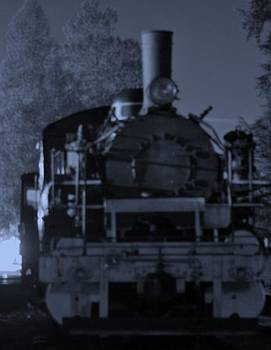 Steam Train At Night by Donald Torgerson