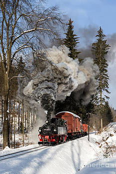 Steam train in the Ore Mountains by Christian Spiller