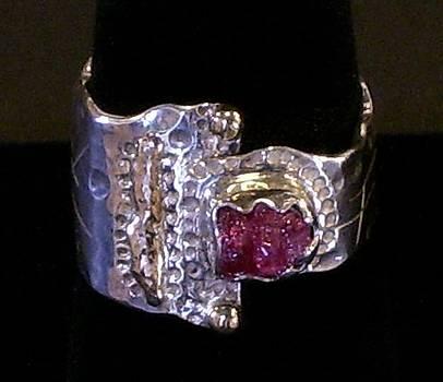 Sterling Silver 14k Gold Pink Tourmaline Ring by Dyan  Johnson