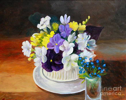 Still Life Freesias and Pansies by Sherrill McCall
