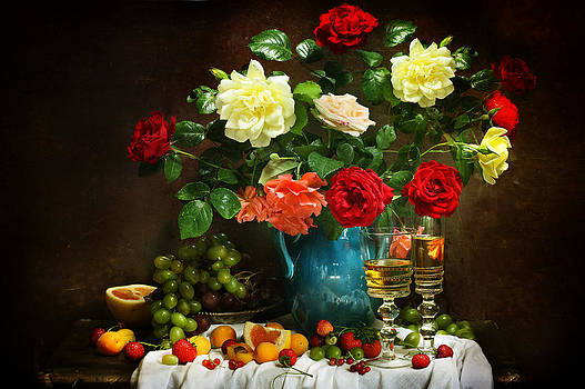 Still life with a beautiful bouquet and glass of wine  by Marina Volodko
