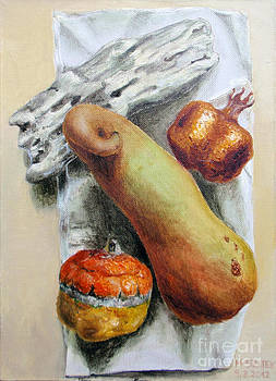 Still life with a squash and a pumpkin by Martin Stratiev