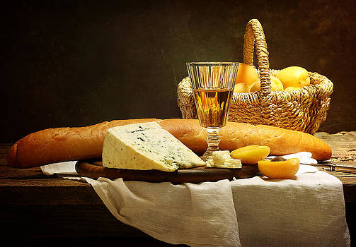 Still-life with cheese ripe apricots and fragrant white win by Marina Volodko