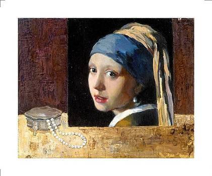 Still life with copy of Vermeer by Liubov Meshulam Lemkovitch