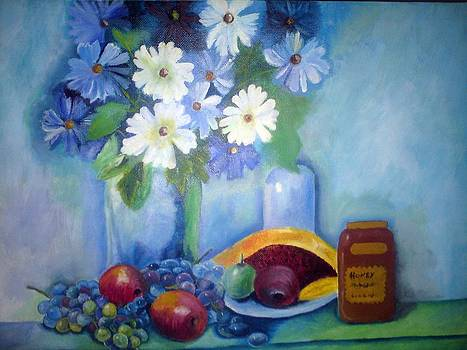 Still Life With Flowers And Fruits by John Davis