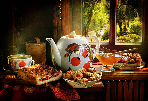 Still-life with fragrant hot tea and sweet honey in a transparent vase by Marina Volodko