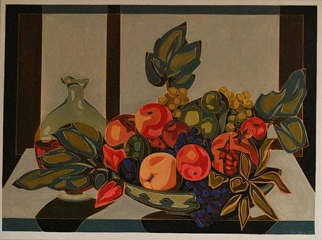 Still Life With Fruit And Wine by Varvara Stylidou