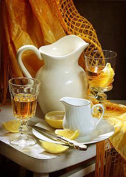 Still-life with juicy yellow lemon by Marina Volodko