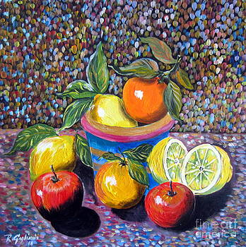 Still Life with Lemons Apples and Oranges by Roberto Gagliardi