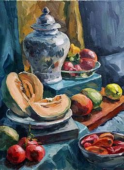 Still Life with melon by Olusha Permiakoff