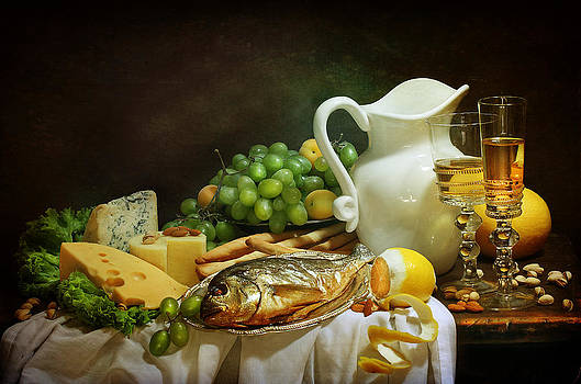 Still-life with smoked fish and cream cheese both fresh fruit and fragrant white wine by Marina Volodko