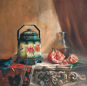 Still life with sugar bowl and pomegranate  by Vasil Vasilev