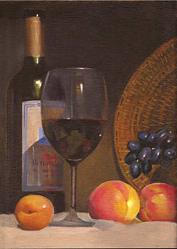 Still-life with wine by Tatyana Holodnova