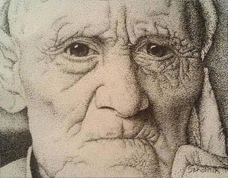 Stippling of an Old Man by Lisa Marie Szkolnik