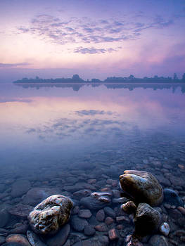 Stones in purple dawn by Davorin Mance