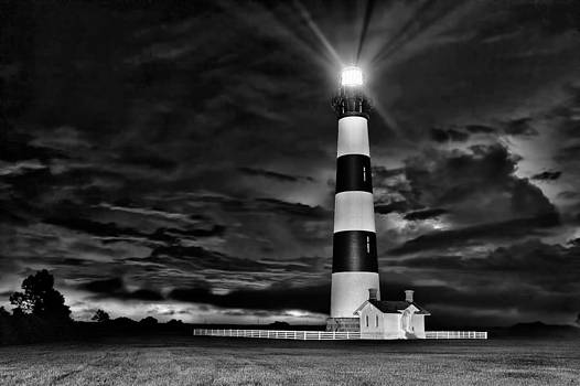 Dan Carmichael - Stormy Morning at Bodie Lighthouse BW