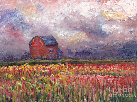 Stormy Sunflower Farm by Nadine Rippelmeyer