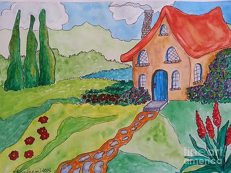 Storybook Cottage and Flowers by Karleen Kareem