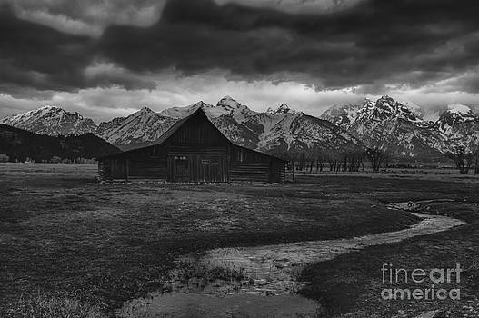 Stream Leading to Barn and the Tetons at Mormon Row by Steve Triplett