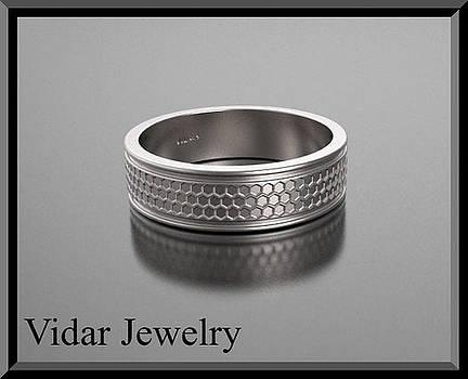 Stunning 14k White Gold Men's Wedding Ring by Roi Avidar