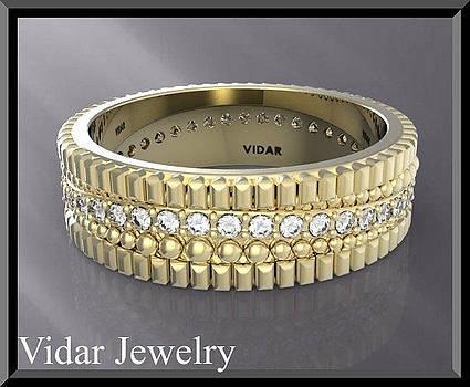 Stunning 14k Yellow Gold Unisex Wedding Ring by Roi Avidar