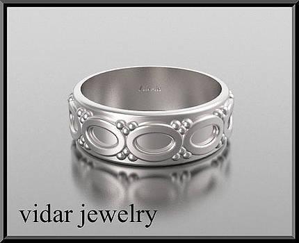 Stunning 14kt White Gold Unisex Wedding Ring by Roi Avidar