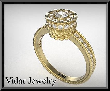 Stunning Diamond Halo 14k Yellow Gold Engagement Ring by Roi Avidar