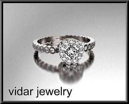 Stunning Flower Diamond 14k White Gold Engagement Ring by Roi Avidar