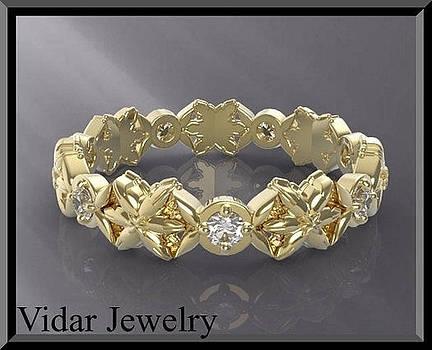 Stunning Statement 14K Yellow Gold Diamond Woman Wedding Ring by Roi Avidar